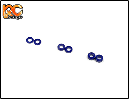 GL RACING - SHM-003 - rondelles 2 x 4 Alum. coller set (0.5/1.0/1.5mm) Bleu