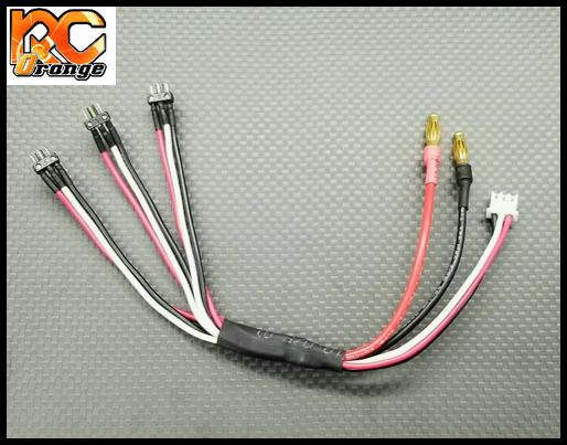 GL RACING PT0006 Cable de charge pour 3 packs lipo GL avec connecteur haut de gamme MINI Z