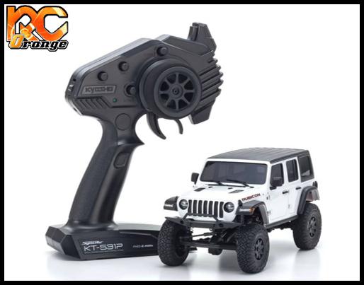 KYOSHO CRAWLER 32521W Chassis MX 01 4x4 Jeep Wrangler Rubicon avec Radio KT 531P Blanc mini z
